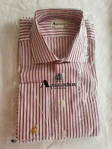 """AQUASCUTUM Business/formal shirt White with red stripe Size 16.5"""" NEW"""