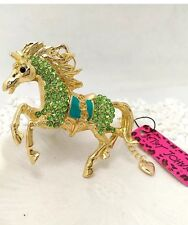 Betsey Johnson Necklace Horse Green With Crystals Gold Horse