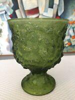 EO Brody Vintage Avocado Green Crinkle Glass Pedestal Dish