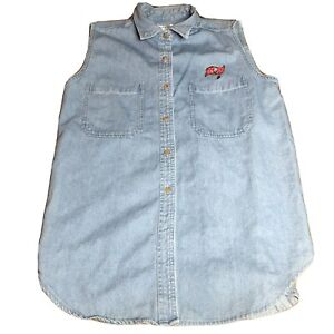 Tampa Bay Buccaneers NFL Women's Sleeveless Jean Denim Shirt Vest Button Large