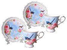 Divine Bone China Blue Wren Rose 2 Cups & 2 Saucers Set ~ Australian Bird Series