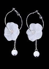 Silver Hoop Earrings With Big White Frosted Flower & Dangling Ball