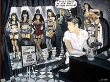 """Elvis Judges the Bettie Page LOOK-ALIKE Contest""- large PRIMARY ORIGINAL framed"