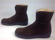 Women's Vintage Brown Suede Leather FauxFur Lining Zip Fashion Winter Boots Sz.9