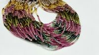AAA Natural multi tourmaline Faceted Rondelle Beads 3MM 13 Inch Long,