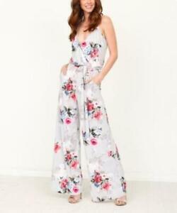 egs by eloges Women's Floral Surplice Sleeveless Jumpsuit Medium M