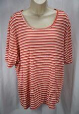 White Stag Women's Stretch Short Sleeve Striped Shirt Size 18W/20W      A-14 123
