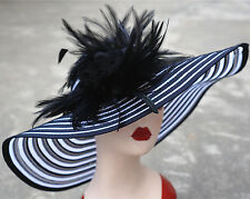 Women's Foldable Wide Brim Floppy Royal Ascot Ladies' Day Race Wedding Hat