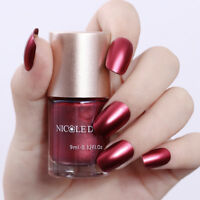 9ml Metallic Nail Polish Mirror Effect Red Shiny Nail Art Varnish NICOLE DIARY