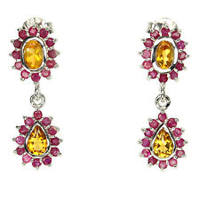 GRACEFULLY GENUINE YELLOW CITRINE , RED RUBY STERLING 925 SILVER DANGLE EARRINGS