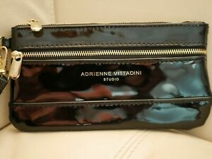 NEW WT WOMEN'S ADRIENNE VITTADINI WRISTLET WALLET PATENT LEATHER BLACK COIN RFID