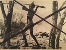 Vintage photo postcard Aboriginal man throwing a spear with woomera photograph