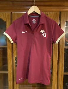 Nike Dri-Fit Florida State University FSU Womens M Polo Shirt 747974 Football