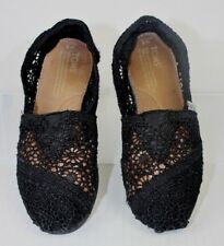 TOMS Classic Black Morocco Crochet Slip-on Shoes Women US 5/EUR 35 Loafers GUC