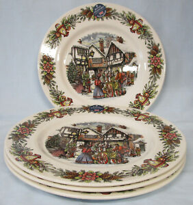 Royal Stafford Holiday Christmas Dickens Scenes Dinner Plate, Set of 4
