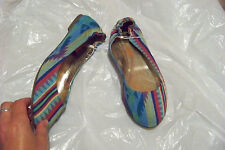 new womens mossimo blue fabric multi ballet falts shoes size 11