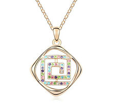 18K Gold GP Made With Swarovski Crystal Square Spiral Necklace Multicolor