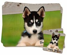 Husky Puppy 'Yours Forever' Twin 2x Placemats+2x Coasters Set in Gift, AD-H67YPC