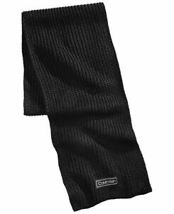 Calvin Klein Mens Scarf Solid Black One Size Chunky Ribbed Knit Logo $55 159