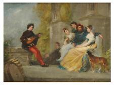 Scène galante au joueur de cithare - Ecole française du XIXème - Huile sur toile
