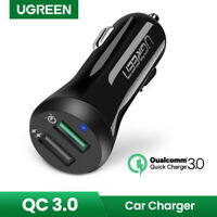 Ugreen Dual USB Car Charger Adapter 3.0 Fast Charging Fr iPhone Galaxy S10 S9 S8