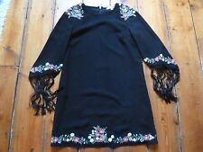 BNWOT KATE MOSS BLACK DRESS,8, FLORAL EMBROIDERY, FRINGED  SLEEVES  TOPSHOP