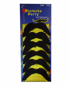Pack of 6 Stick on Black 70's Fake Moustache Self Adhesive Fancy Dress Christmas