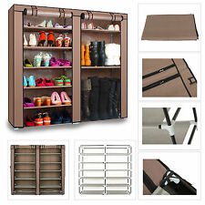 2Doors Shoes Cabinet Storage Shoe Rack 36 Pairs 7 Tier Organizer Brown/Silver AU