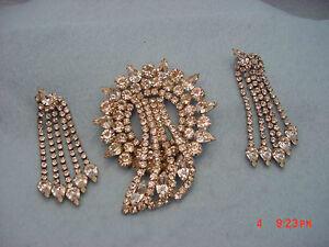 Vinyage Rhinestone  Giant Rhinestone Pin & Earring Set