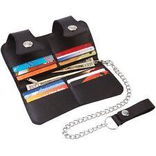 Black Leather Biker Wallet w/ Chain Belt Clip, Men Trucker Pocket Women Clutch