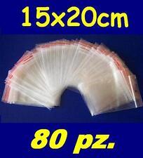 15x20 cm buste bustine zip plastica SACCHETTI 80 pz.