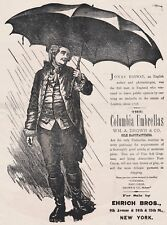 RARE Advertising Broadside - Wm Drown Co Columbia Umbrellas 1870s Ehrich Bros NY