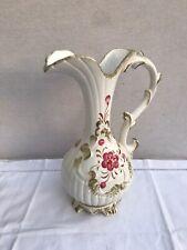 Ancien Pichet Aiguière BASSANO Céramique Blanc Dessin Fleurs Italy Vintage