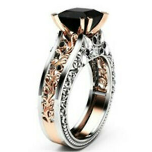 Gorgeous Women Rose Gold Filled Wedding Rings 2.10ct Black Sapphire Size 5-10