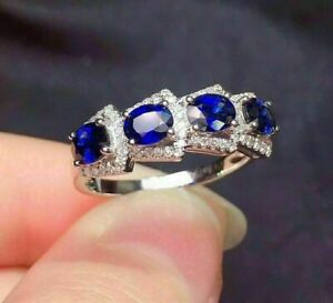 14K White Gold Finish 2 Ct Oval Cut Sapphire Halo Diamond Engagement Band Ring