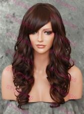 Dark Brown/Auburn Mix Long Layered Curly Heat OK Synthetic Hair Wig SAEV 4/30