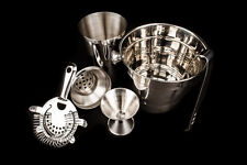 5 Pc Cocktail Shaker & Bar Accessories Ice Bucket Jigger Strainer Set