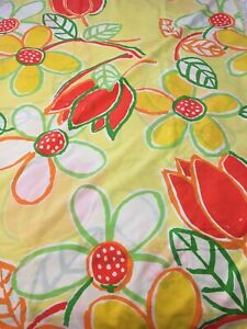 Vtg Alex West King Size Flat Sheet Bright Yellow Floral Sunflower Red Tulip USA