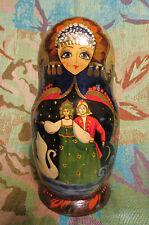 VINTAGE Signed 7 Pc Russian Matryoshka Nesting Dolls Tsar Saltan/Swan Princess