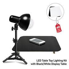 Photo Studio Table Top LED Lighting Kit Light Stand w/ Black White display Table