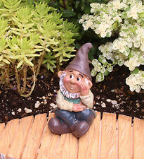 CUTE! FAIRY GARDEN MINIATURE Sitting Gnome Figurine NEW #D161513