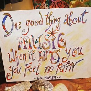 Hand Drawn Bob Marley Quote On Canvas