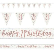 Rose Gold Glitz Age 21 Birthday Banners, Foil Banner, Flag Banner, Party, Pink