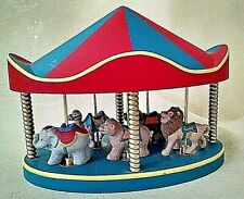 Hallmark Carousel 1990 With 5 Animals Bear Elephant Lion Camel Used No Flag Guc.