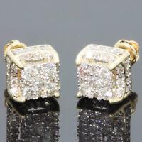 Created Rhinestone 18K yellow gold filled Brilliant Screwback Stud Earrings