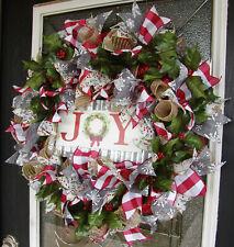 Country Farmhouse Christmas Deco Mesh Front Door Wreath Home Decor Decoration