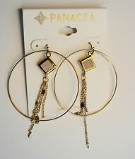 NWT- Panacea Faceted Stone and Fringe Hoop Earrings