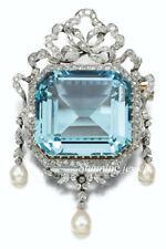 Vintage Reproduction 6.40ct Rose Cut Diamond Silver Blue Topaz Fine  Brooch