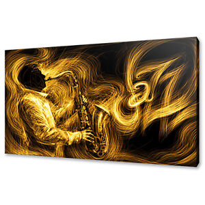 GOLD YELLOW JAZZ SAXOPHONE PLAYER MUSIC CANVAS PRINT WALL ART PICTURE