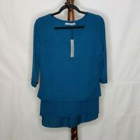 NWT Arianna by Howard's women S/M layered sweater teal scoop neck short sleeves
